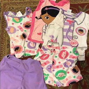 5 piece doc mcstuffins pajamas size 4